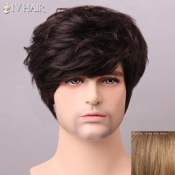 Shaggy Siv Hair cCurly Human Hair Wig For Men - BROWN/BLONDE