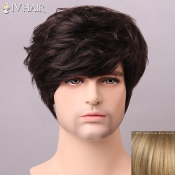 Shaggy Siv Hair cCurly Human Hair Wig For Men - GOLDEN BROWN/BLONDE