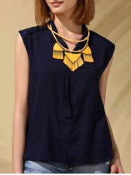 Trendy Stand-Up Collar Voile Patchwork Chiffon Tank Top For Women -