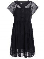 Elegant V-Neck Short Sleeves Lace Shirt Dress Twinset For Women -