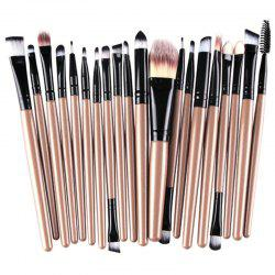 Stylish 20 Pcs Multifunction Plastic Handle Nylon Makeup Brushes Set - CHAMPAGNE GOLD