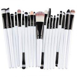 Stylish 20 Pcs Multifunction Plastic Handle Nylon Makeup Brushes Set - WHITE