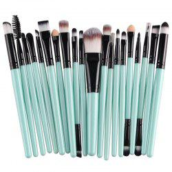 Stylish 20 Pcs Multifunction Plastic Handle Nylon Makeup Brushes Set - GREEN