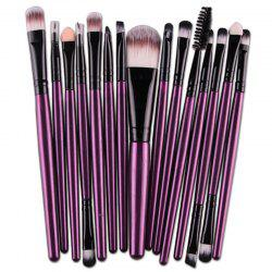 Stylish Multifunction 15 Pcs Plastic Handle Nylon Makeup Brushes Set - PURPLE