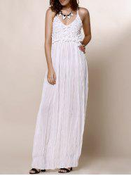Lace Panel Backless Long Slip Beach Maxi Dress - WHITE
