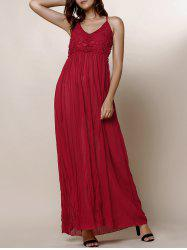 Lace Panel Backless Long Slip Dress - Rouge Vineux
