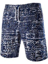 Loose Fit Lace Up Printed Boardshorts - PURPLISH BLUE