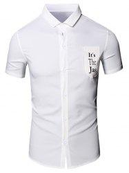 Turn-Down Collar Letter Printed Pocket Short Sleeve Cotton+Linen Shirt For Men