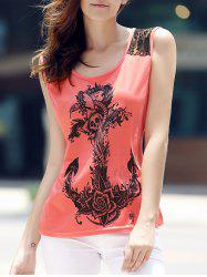 Stylish Scoop Collar Lace Spliced Totem Print Tank Top For Women