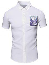 Turn-Down Collar 3D Letters Printed Short Sleeve Cotton+Linen Shirt For Men