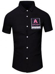 Turn-Down Collar Letters Printed Short Sleeve Cotton+Linen Shirt For Men - BLACK M