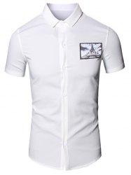 Turn-Down Collar 3D Iron Tower Printed Short Sleeve Cotton+Linen Shirt For Men