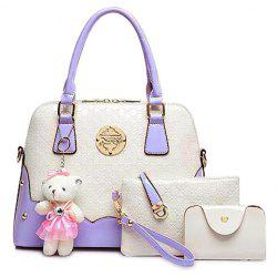 Fashion Bear Pendant and Color Block Design Women's Tote Bag