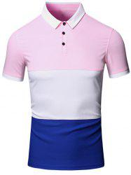 Turn-Down Collar Color Block Splicing Design Short Sleeve Cotton+Linen Polo T-Shirt For Men