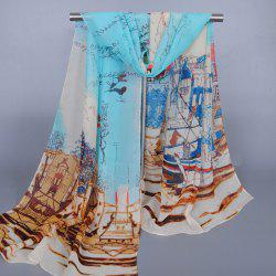 Chic Modern Metropolitan Style Buildings Pattern Chiffon Scarf For Women - WATER BLUE