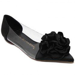 Graceful Flower and Pointed Toe Design Flat Shoes For Women - BLACK