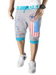 Letters  American Flag Print Color Block Beam Feet Lace-Up Capri Pants For Men - LIGHT GRAY 2XL