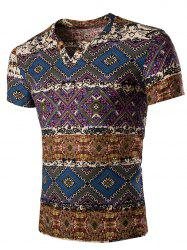 Tribal Print V Neck Tee Shirt - BLUE