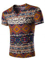 Tribal Print V Neck T-Shirt - ORANGE