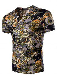 Casual V Neck Flower Printing Short Sleeves T-Shirt For Men - COLORMIX 2XL