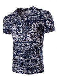 Casual V Neck Abstract Printing Short Sleeves T-Shirt For Men - COLORMIX