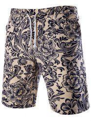 Casual Lace Up Flower Printing Boardshorts For Men -