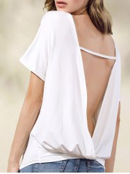 Stylish Short Sleeve White Open Back Women's T-Shirt -
