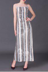 Sequin Stripe Maxi Evening Dress -