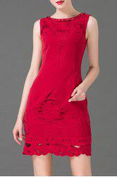 Embroidered Hollow Out Beaded Dress -