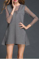 Sheer Sleeve A Line Dress -