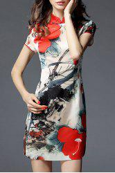 Sheath Floral Cheongsam Dress - COLORMIX