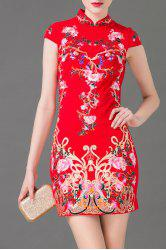 Flower Embroidered Mini Bodycon Dress -