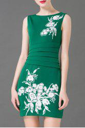 Flower Embroidered Ruched Sleeveless Skinny Dress -