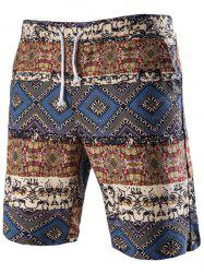 Casual Lace Up Printed Boardshorts For Men - Bleu