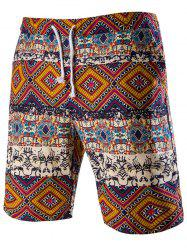 Drawstring Tribal Printed Loose Fit Boardshorts - RED