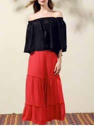 Stylish Off-The-Shoulder Bell Sleeve Women's Crop Top - BLACK ONE SIZE(FIT SIZE XS TO M)