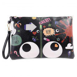 Stylish Zip and Print Design Clutch Bag For Women - BLACK