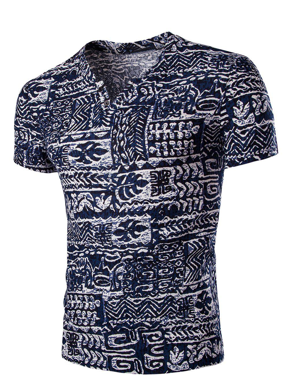 Sale Casual V Neck Abstract Printing Short Sleeves T-Shirt For Men
