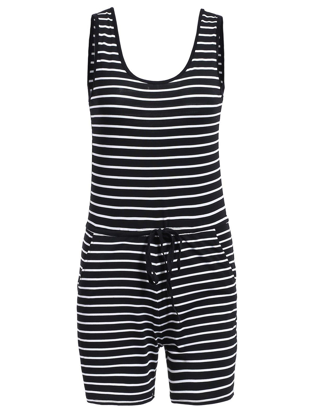 Chic Casual U-Neck Striped Sleeveless Romper For Women