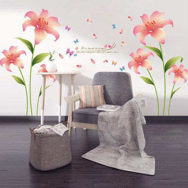 Affordable Fashion Pink Lilium Pattern Wall Sticker For Livingroom Bedroom Decoration