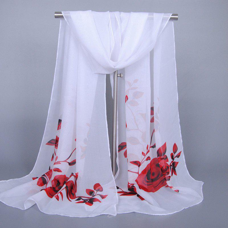 Discount Chic Red Roses and Leaves Pattern Chiffon Scarf For Women