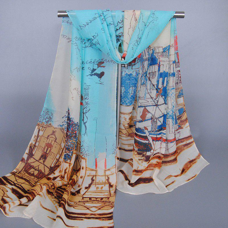 Chic Modern Metropolitan Style Buildings Pattern Chiffon Scarf For WomenACCESSORIES<br><br>Color: WATER BLUE; Scarf Type: Scarf; Group: Adult; Gender: For Women; Style: Fashion; Material: Polyester; Season: Fall,Spring,Summer; Scarf Length: 135-175CM; Scarf Width (CM): 50CM; Weight: 0.063kg; Package Contents: 1 x Scarf;