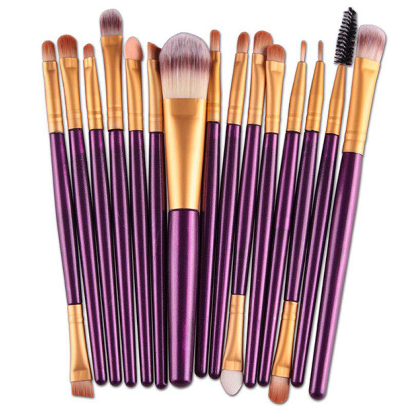 Stylish 15 Pcs Plastic Handle Nylon Makeup Brushes SetBEAUTY<br><br>Color: PURPLE; Category: Makeup Brushes Set; Brush Hair Material: Nylon; Features: Hypoallergentic; Season: Fall,Spring,Summer,Winter; Weight: 0.120kg; Package Contents: 15 x Makeup Brushes (Pcs);