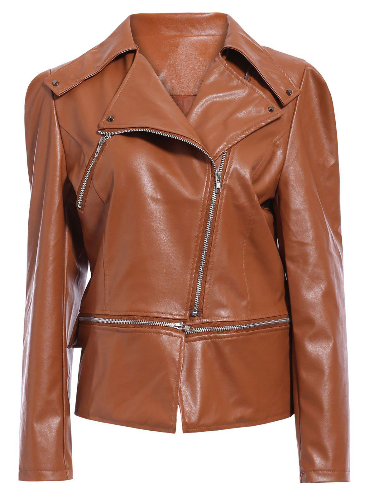 Discount Zipper Up Faux Leather Biker Jacket