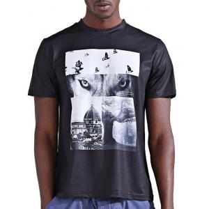 Round Neck Stylish 3D Abstract Splicing Print Short Sleeve T-Shirt For Men