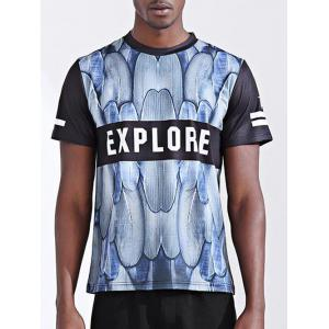 Fashion Letter Printing Round Collar Short Sleeves T-Shirt For Men