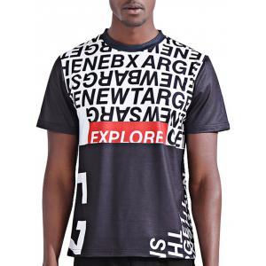 Round Neck Stylish 3D Color Block Letters Print Short Sleeve T-Shirt For Men