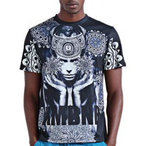 Round Neck Stylish 3D Abstract Figure and Letter Print Short Sleeve T-Shirt For Men