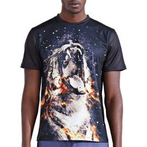 Round Neck Stylish 3D Fire Leopard Print Short Sleeve T-Shirt For Men