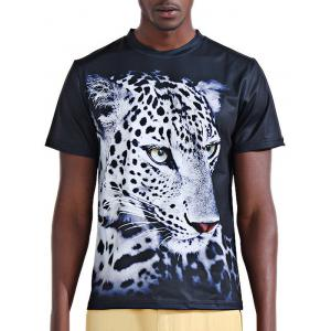 Round Neck Stylish 3D White Leopard Print Short Sleeve T-Shirt For Men